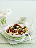 Pasta alla norma with aubergines and feta
