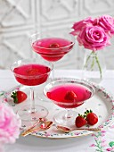 Pink champagne jelly with strawberries