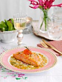 Poached salmon fillet in champagne sauce