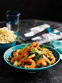 Pan fried ginger shrimps with vegetables (Asia)