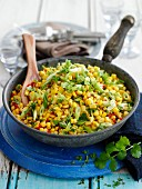 Corn with spring onions, chilli and coriander