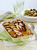 A potato bake with summer vegetables