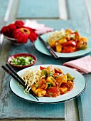 Sweet and sour chicken with noodles (China)