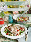 Grilled tuna on couscous with peppers and green beans