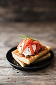 Savoury waffles with pickled salmon and creme fraiche