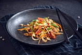 Vegan Som Tam (Thai papaya salad) with soya strips