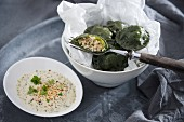 Durum wheat and spirulina ravioli with scrambled tofu filling (vegan)