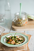 Chicken, pearl barley and asparagus risotto