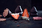 Vegan rice waffles with white chocolate, strawberries and a dark chocolate glaze