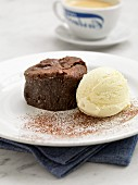 Chocolate fondant with vanilla ice cream