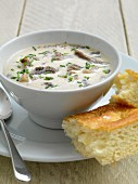 Mushroom soup with chives