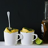 Savoury polenta mug cakes with beer and lime