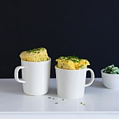 Savoury mug cakes with cheddar and chives