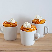 Savoury mug cakes with cream cheese and tomato sauce