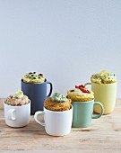 Five different savoury mug cakes