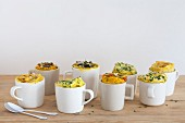 Eight different savoury mug cakes