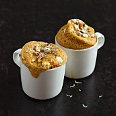 Savoury mug cakes with sardines, lemon and ricotta