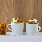 Savoury mug cakes with red tapenade and basil
