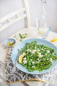 Salad with peas, peashots, beans and feta cheese with olive oil and lemon