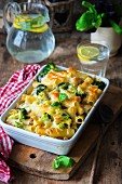 Broccoli pasta bake with basil