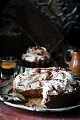 Chocolate meringue cake, sliced