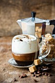 Coffee topped with cream