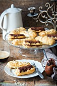 Eclairs with chocolate sauce