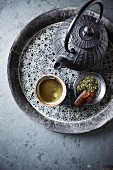 Japanese Sencha Green Tea in a Tea Bowl