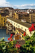 The Ponte Vecchio, the oldest bridge over the Arno River in Florence, Italy