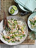 Rice noodles with crab and vegetables (Asia)