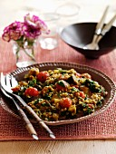 Lentil curry with spinach, aubergines and tomatoes