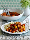 Sweet potato tagine with carrot and couscous