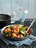 Garnelenpfanne mit Brokkoli