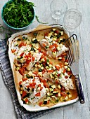 Roasted haddock with diced vegetables