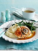 Seared turkey escalope with lemon, sage and bacon