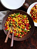 Sweetcorn with spring onion and roasted red pepper