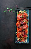 Rainbow trout teriyaki with watermelon and cucumber relish and sesame mayonnaise