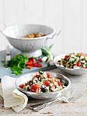 Wild rice salad with beans, tomatoes and herbs