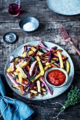 Vegetable fries with ketchup