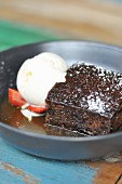Sticky date pudding with vanilla ice cream