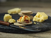 Crackers with Lancashire cheese and chutney