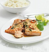 Asian-style salmon fillet with coriander, lime and rice