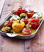 Stuffed summer vegetables (tomatoes, peppers, courgette and onions)