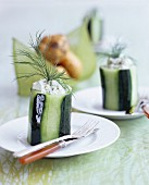Cucumber filled with cream cheese and dill