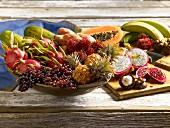 An arrangement of various tropical fruits