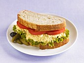 A tofu and egg salad sandwich