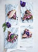 Vier Smörrebröd mit Rote-Bete-Salat und Räucherforelle (Aufsicht)