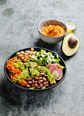 Mixed salad with sweet potato puree