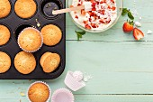 Muffins with strawberry and chocolate cream