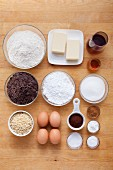 Ingredients for red wine cake
